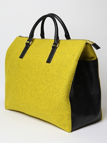 Men's Weekend Bag by Jil Sander: Made in Italy of wool and textured leather.
