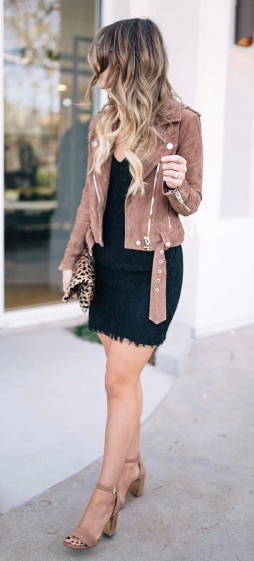 Fall fashion | Black lace dress with brown jacket and heeled sandals