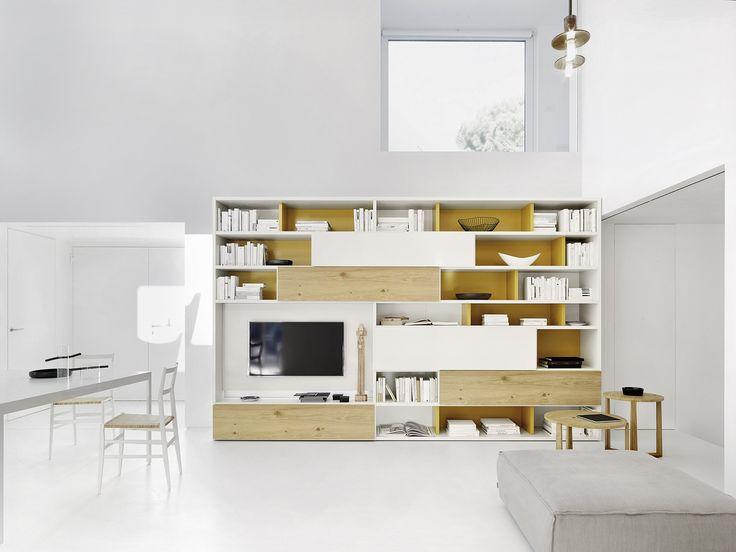 Inspirational Moderne Wohnwand lackiert und mit hellem Eichen furnier dekoriert Hersteller Livitalia