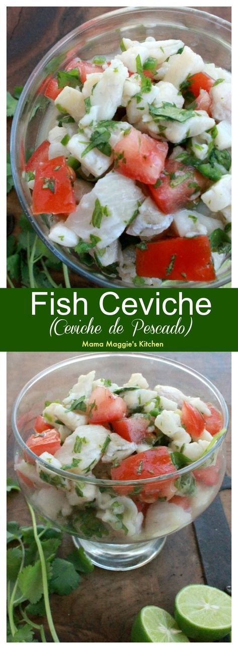 Fish Ceviche, or Ceviche de Pescado, is the perfect warm weather food. You never feel heavy after you eat it. It's full of all my favorite Mexican flavors. by Mama Maggie's Kitchen #sponsored