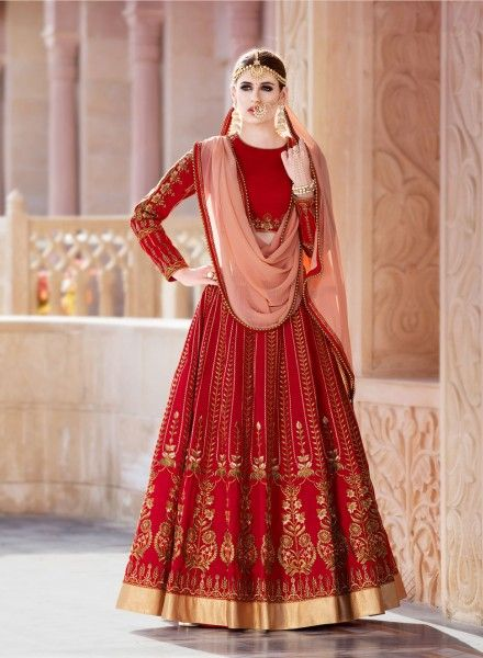ffd6ec540e Red designer wedding wear net lengha with long velvet choli | Dream ...