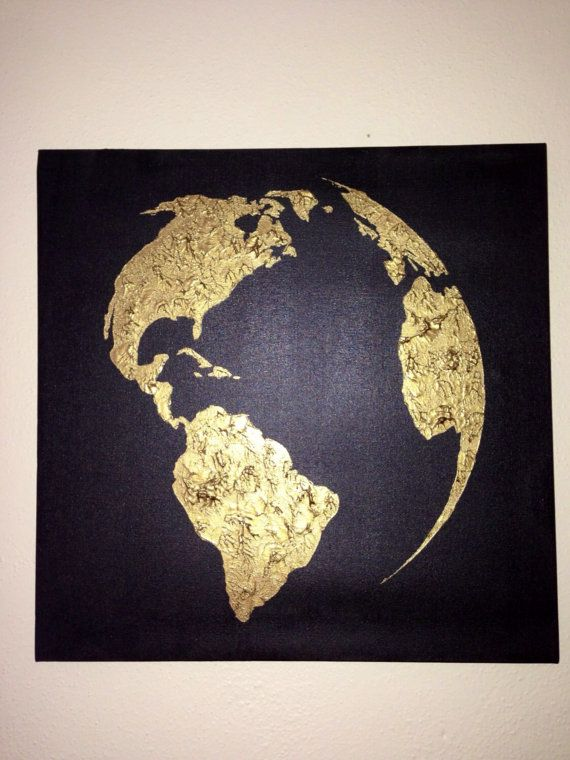 Hand painted, you are sure to absolutely love this piece. Simple and elegant, the map of the world is painted on a black canvas using the finest