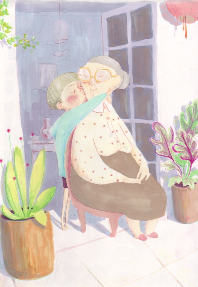Grandma and boy. Real Love Kiss. Simona Ciraolo