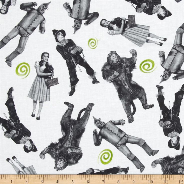 Wizard of Oz 75 Years of Wickedness Character Toss White from @fabricdotcom  Licensed by TM & Turner Entertainment to Quilting Treasures, this cotton print is perfect for quilting, apparel and home decor accents. Colors include green, grey and black. This fabric is licensed and not for commercial use without license.