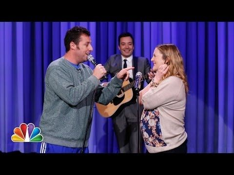 "Watch the full song here: | Drew Barrymore And Adam Sandler Recreate A Great Moment From ""The Wedding Singer"""