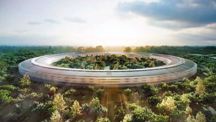 Watch a drone flyby of Apple's gigantic spaceship campus