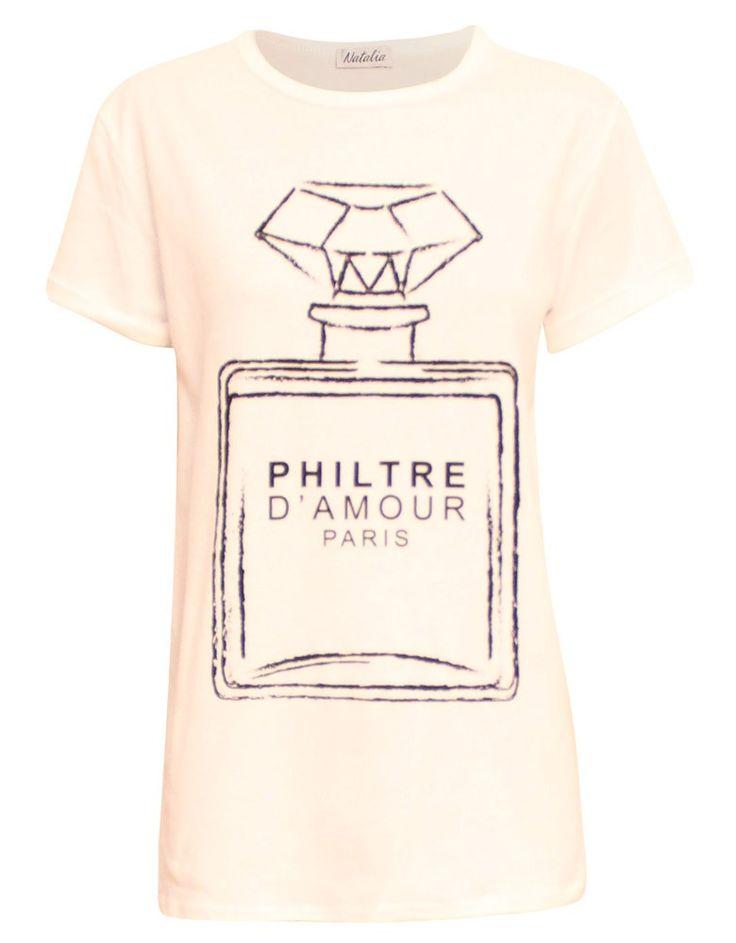 Philtre D'amour Paris Print T-Shirt in White | ChiaraFashion