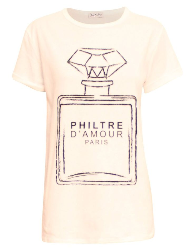 Philtre D'amour Paris Print T-Shirt in White | ChiaraFashion