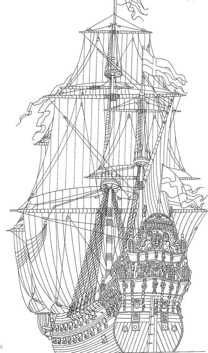 coloring page Sailing Ships - Tall Ships