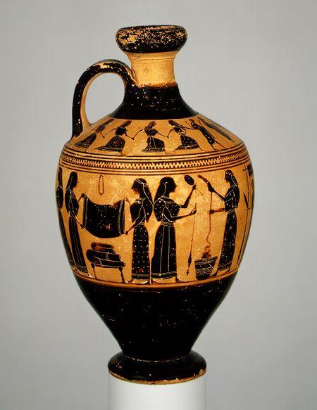 black-figured lekythos; Attic, c. 540 BCE. Women spinning. Attributed to the Amasis Painter (New York, Metropolitan Museum of Art)