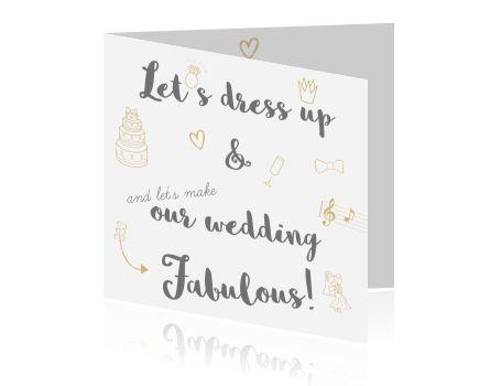 Hippe trouwkaart met gouden details en versieringen