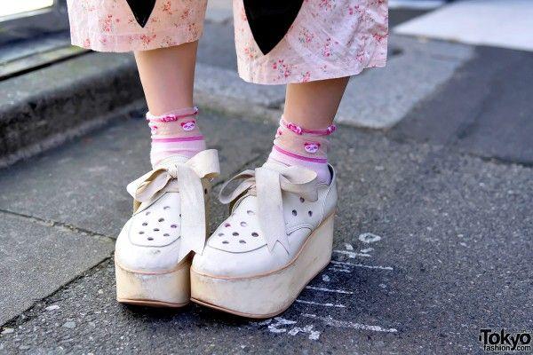 Tokyo Bopper Ribbon Laced Platforms & Sheer Socks