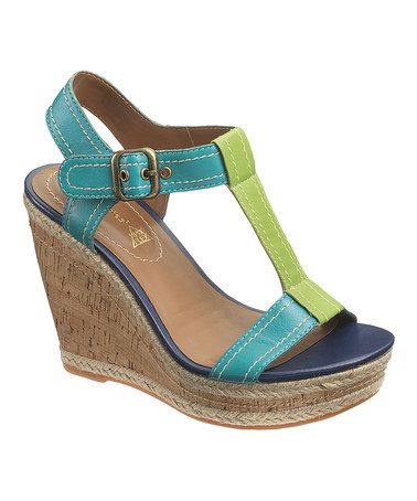 Take a look at this Blue & Green Renown T-Strap Wedge - Women by Hush Puppies on #zulily today!