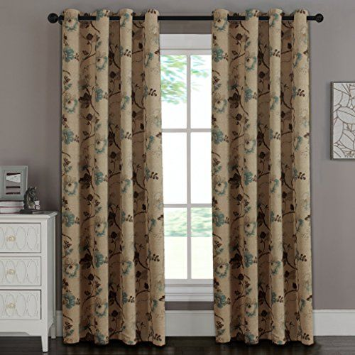H.Versailtex Vintage Brown Floral in Brown Aqua Taupe 80% blackout Living Room Traditional Window CurtainsAntique Copper Grommet52 inch by 84 inch-Set of 1 Panel