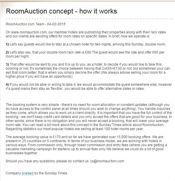 #RoomAuction #concept - how it works! ->   On www.roomauction.com, our member hotels are publishing their properties along with their #rack #rates and our #clients are sending offers for room rates on specific dates + there's no need for #roomallocation or #constant #updates --> Read more and Enjoy ;-)
