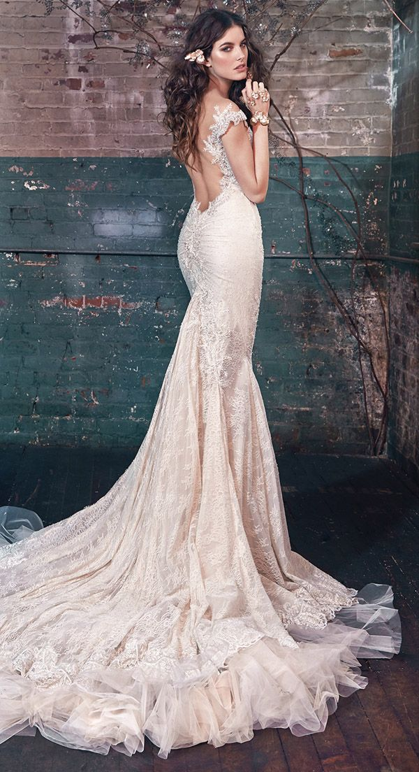 vintage lace mermaid wedding dresses with off the shoulder detail from Galia Lahav Les Reves Bohemians collection Blossom