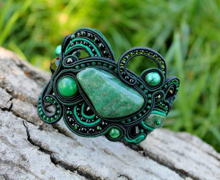Green bracelet from soutazha green soutache bracelet with
