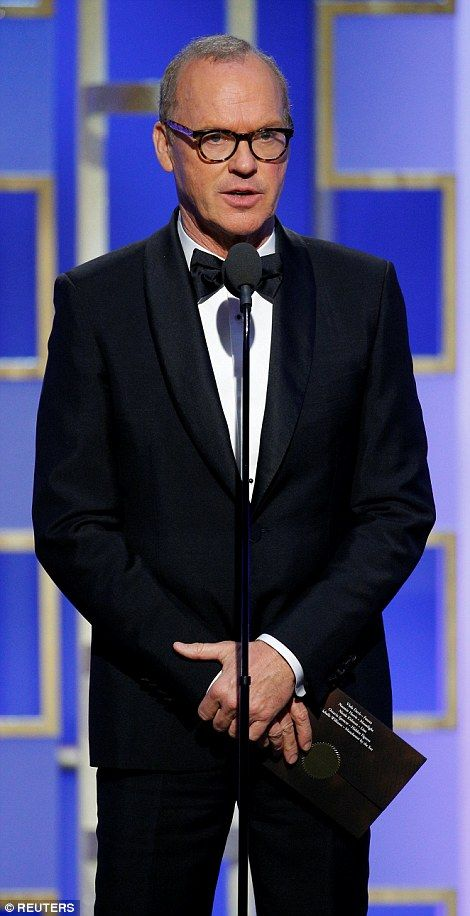 Dapper:Michael Keaton looked handsome in his tuxedo at the 2017 Golden Globes