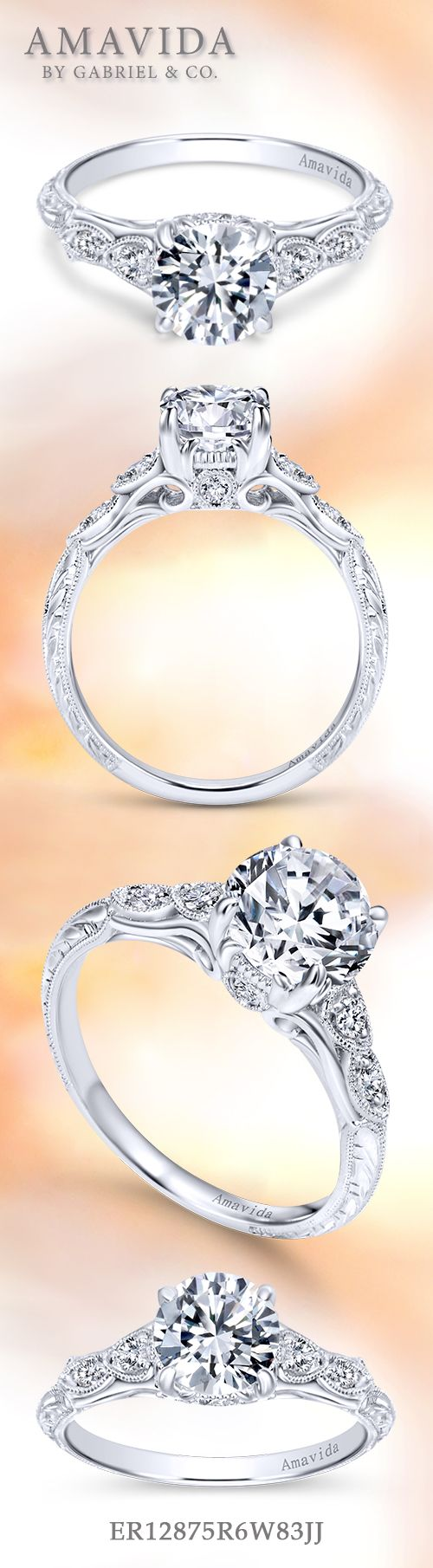 Amavida by Gabriel & Co. - Voted #1 Most Preferred Bridal Brand.   Crown her queen with this antique-style engagement ring.