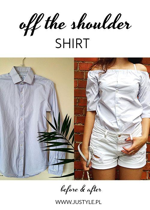 Przed i po. Przdróbka męskiej koszuli na bluzkę bez ramion. #before&after Off the shoulder shirt.