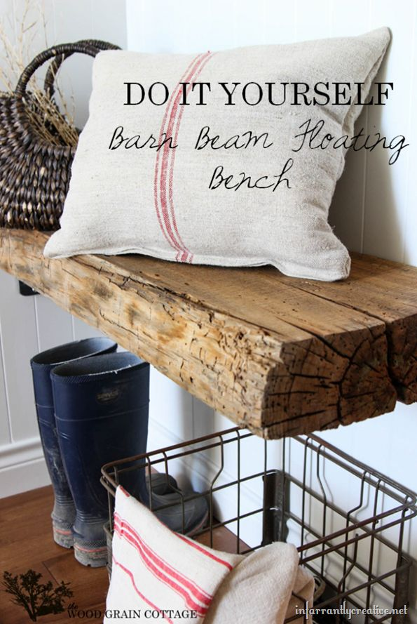 floating-barnwood-benchMudroom, Wood Grains, Barns Beams, Grains Cottages, Barnwood Benches, Mud Room, Floating Benches, Beams Floating, Barns Wood