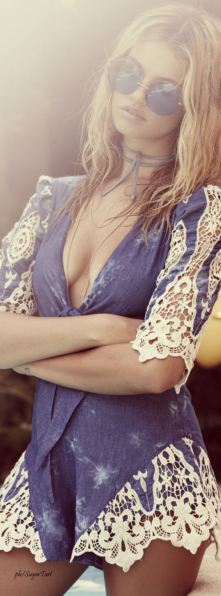 Blue Denim And Lace Romper  ≫∙∙☮ Bohème Babe ☮∙∙≪• ❤️ Babz™ ✿ιиѕριяαтισи❀ #abbigliamento #bohojewelry #boho