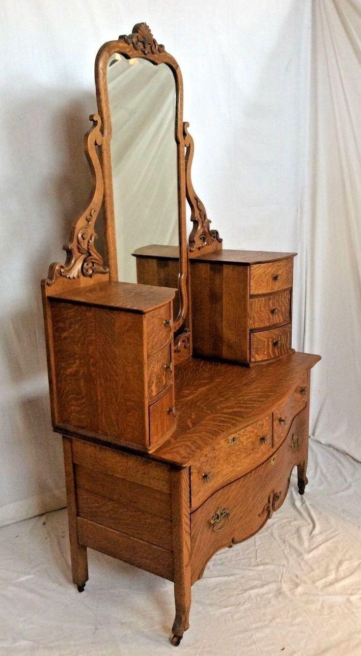 Rare set of twelve victorian solid oak leather antique chairs empire - Antique Victorian 1880 039 S Tiger Quarter Sawn Solid Oak Che Val Dresser Ebay