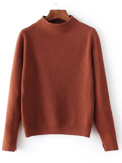 The perfect Brown knit featuring a cropped fit and mock neck. Looks rad with long sleeves! It is great!!!!