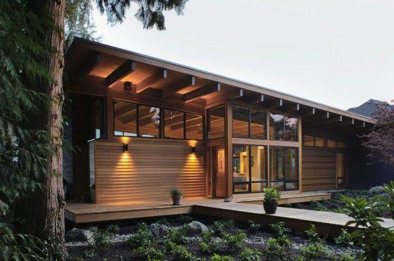 Diseño de moderna casa de madera de una planta
