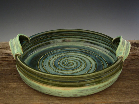Ceramic Baking Dish  Rainforest Green and by DirtKickerPottery, $45.00