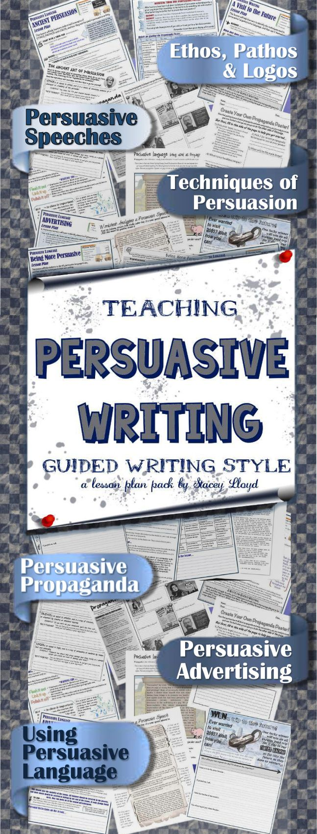 ($5) This comprehensive persuasive writing pack contains: - 6 step-by-step lesson plans (each one guides the teacher in the most effective way to teach the concepts of the lesson, and provides helpful tips and hints for effective practice). - A variety of attractive persuasive writing worksheets and hand-outs which accompany the lesson plans. - A list of 40 persuasive writing topics and prompts.  - A beautiful persuasive writing poster to brighten up your classroom!