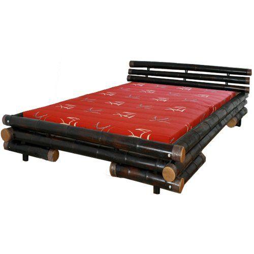 Homestyle4u Bambusbett Futonbett Bambus Bett 200 x 200 cm in dunkelbraun Doppelbett Bettgestell inkl. Lattenrost