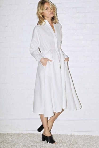 White Linen Long Shirt Dress - Dresses & Jumpsuits