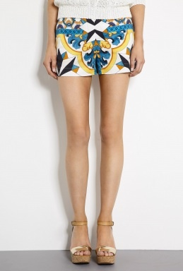Tile Print Cotton Poplin Shorts by Philosophy di Alberta Fer