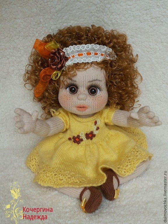 Купить Женевьева - желтый, вязаная игрушка, вязаная кукла, вязаная куколка, интерьерная кукла