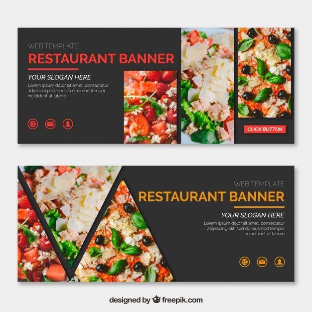 Download Set Of Restaurant Banners With Photo For Free Food Template Food Banner Food Poster