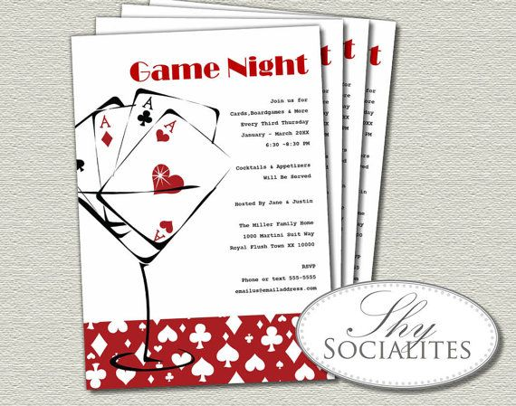 Red Martini Cards Game Night Printable Invitation by ShySocialites, $12.00