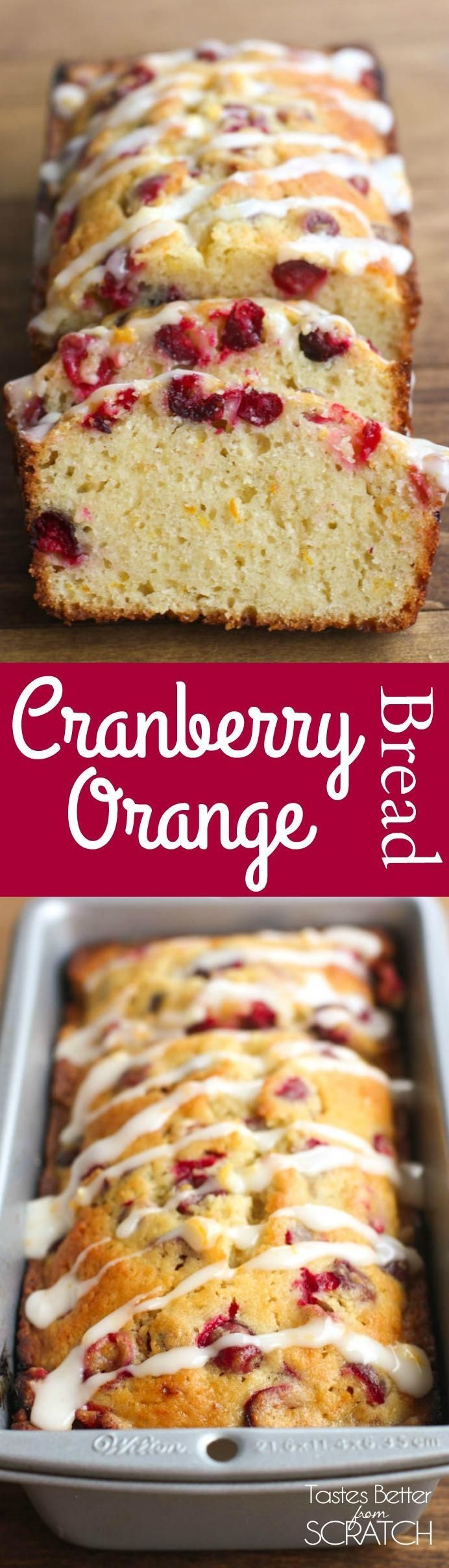 Cranberry Orange Bread with a sweet orange glaze | Tastes Better From Scratch
