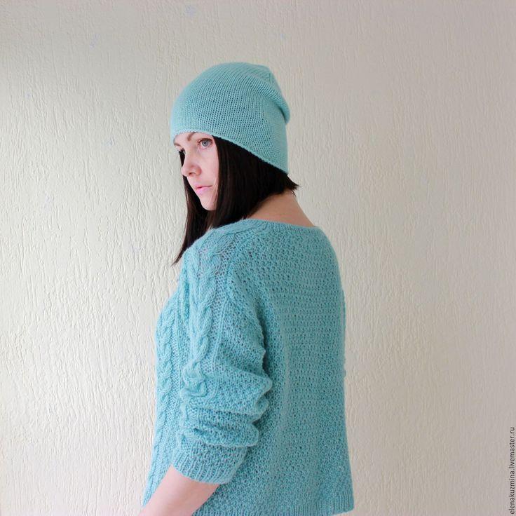 """Купить Свитер """"Mint"""" - мятный, свитер косами, мятный свитер, весна 2016, свитер, альпака"""