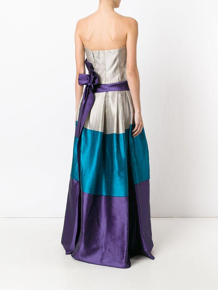 Alberta Ferretti вечернее платье колор-блок без бретелек