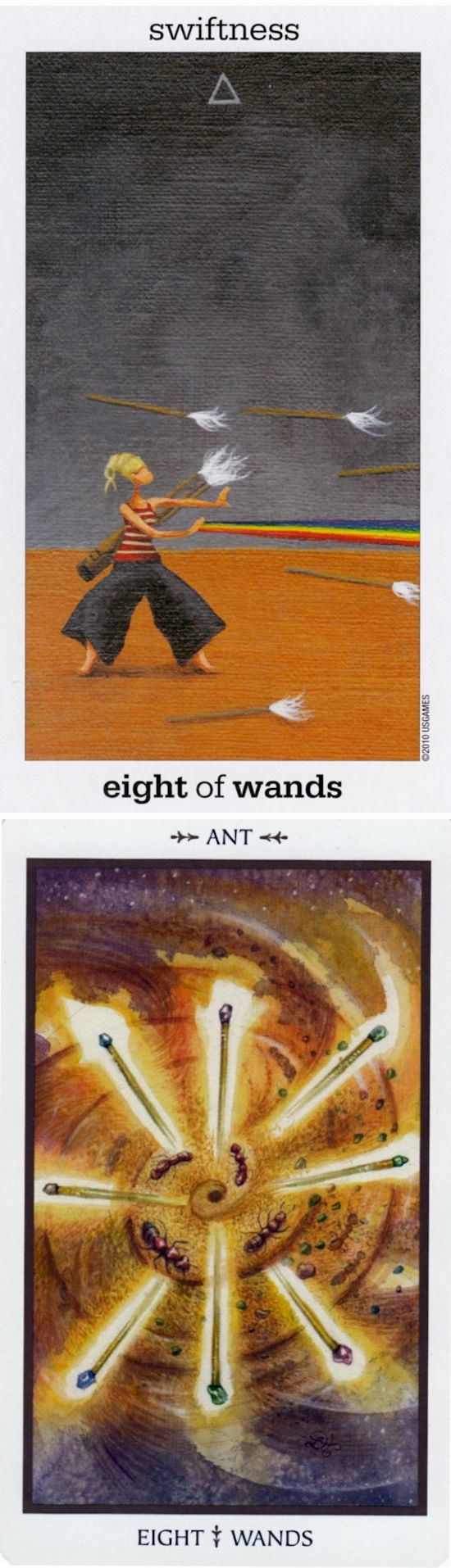 Eight of Wands: rapid action and delays (reverse). Sunmoon Tarot deck and Animals Divine Tarot deck: how to do tarot cards, tarot book vs free accurate tarot reading. New tarot art vintage and oracles woman. #ilovemywitchyways #backtonature #iosapp