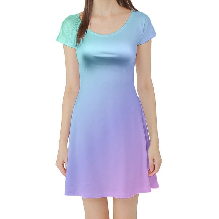 Green to Blue to Purple to Pink Ombre Short Sleeved Skater Dress