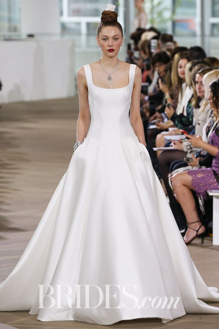 """Elena"" dropped waist ball gown silhouette wedding dress with contoured seaming along the bodice and skirt, hidden pockets, and complete with a sleeveless wide square neckline, Ines Di Santo, Spring 2018 Bridal Collection"