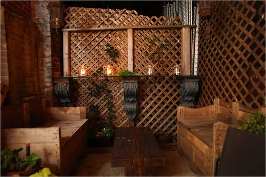 Recycled wood outdoor drinking area