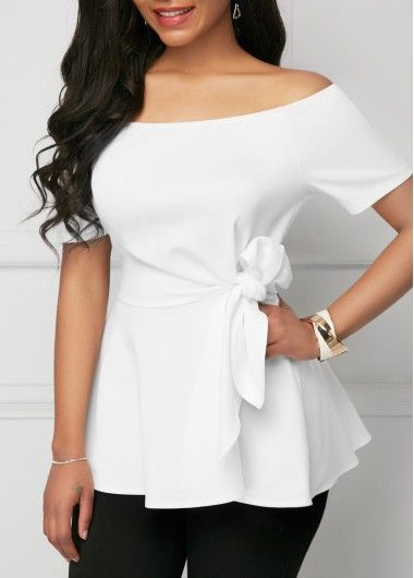Belted Off The Shoulder White Short Sleeve Blouse In 2019 Style
