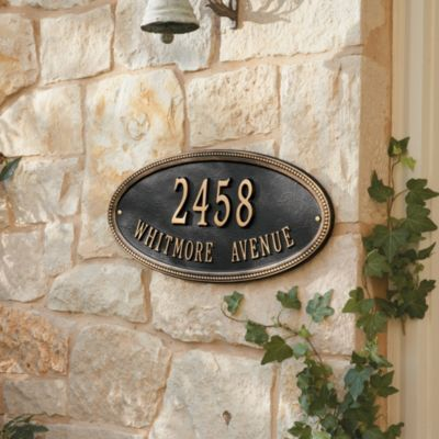 Beaded Oval Signs, Wall. for curbside retaining wall but with silver lettering.