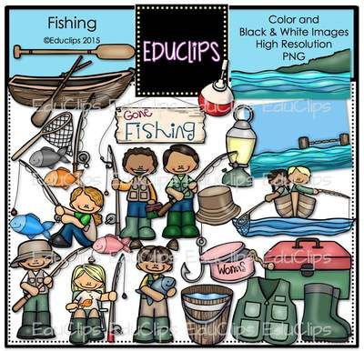 Fishing Clip Art Bundle from Educlips on TeachersNotebook.com - (51 pages) - Fishing Clip Art Bundle