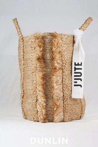 J'Jute Bazar Tall Fringe Jute Basket in Natural