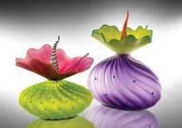 Fabulous art glass perfume bottles by Kliszewski Glass