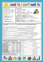 English teaching worksheets: have to